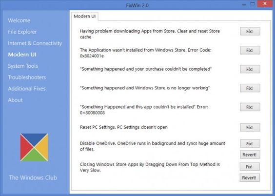FixWin v 2.1 for Windows 8 - Offers to repair and fix over 50 common Windows annoyances, issues & problems. They have been categorized under 6 tabs, viz : File Explorer, Internet & Connectivity, Modern UI, System Tools, Troubleshooters and Additional Fixes. The best part of using the tools, is that it provides direct links to bring up the built-in 16 Windows Troubleshooters. (click image to download from OlderGeeks.com) #Windows8 #computerrepair #Windows81