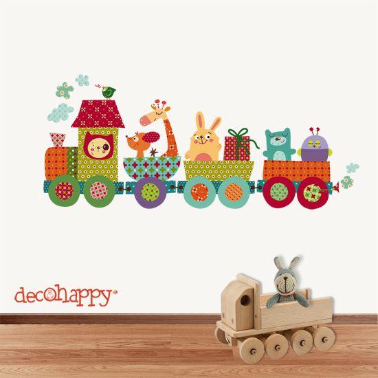 Vinilos infantiles decohappy el tren risitas 2 mucho for Vinilos para pared ninos