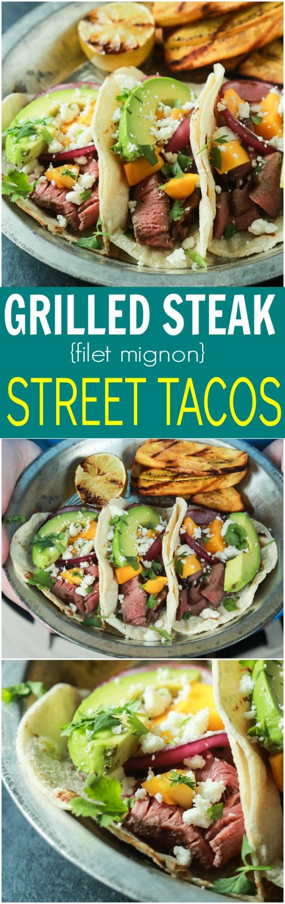 These Grilled Steak Street Tacos are filled with tender Filet Mignon, fresh mango, creamy avocado, and charred onions. The perfect 20 minute steak dinner that tastes like a flavor bomb went off in your mouth! | joyfulhealthyeats.com #glutenfree