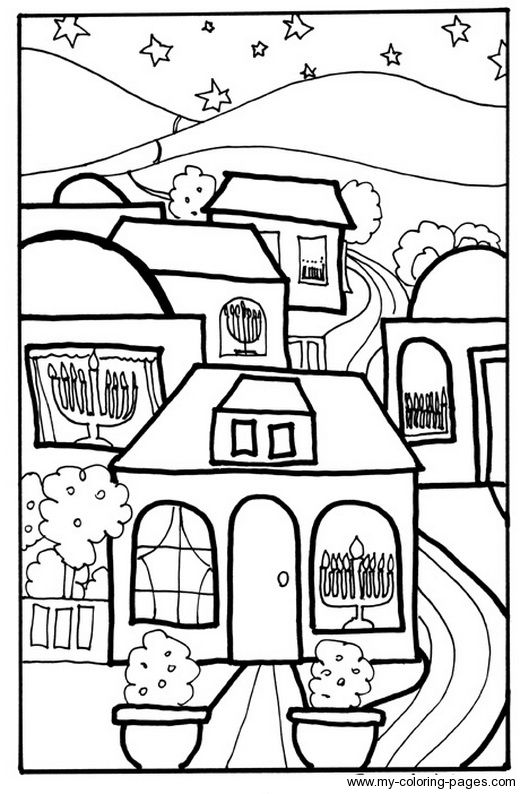 Chanukah Houses Print Out Coloring Sheet
