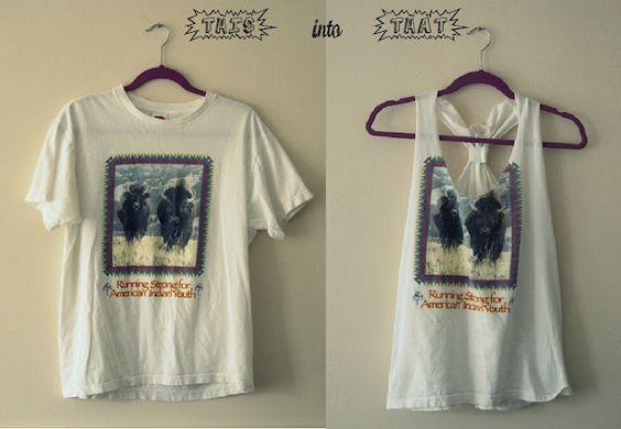 T-shirts cut to Racerbacks: Diy Tank, Diy Crafts, Diy Clothes, Tanktop, Tshirt