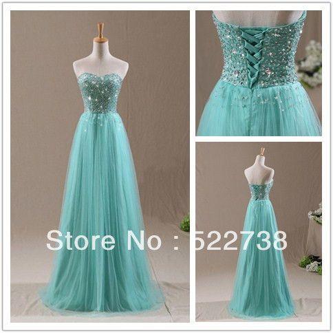Free shipping beaded green long evening dresses women 2014 formal ...