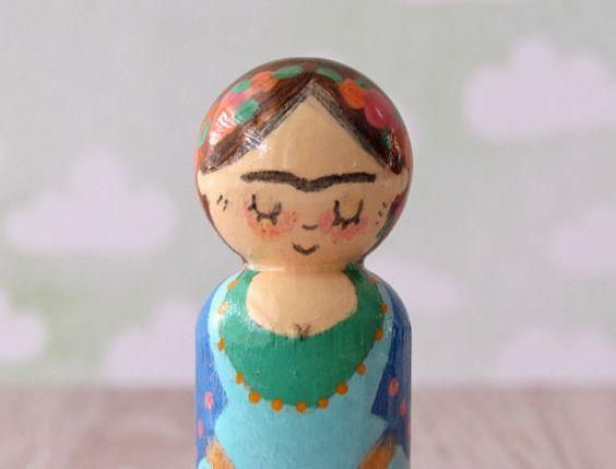 Frida Kahlo Peg Doll  Doodle Peg Puppe von Walter von WalterSilva