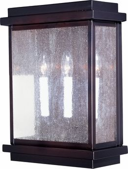 Cubes 3-Light Outdoor Wall Lantern shown in Burnished by Maxim