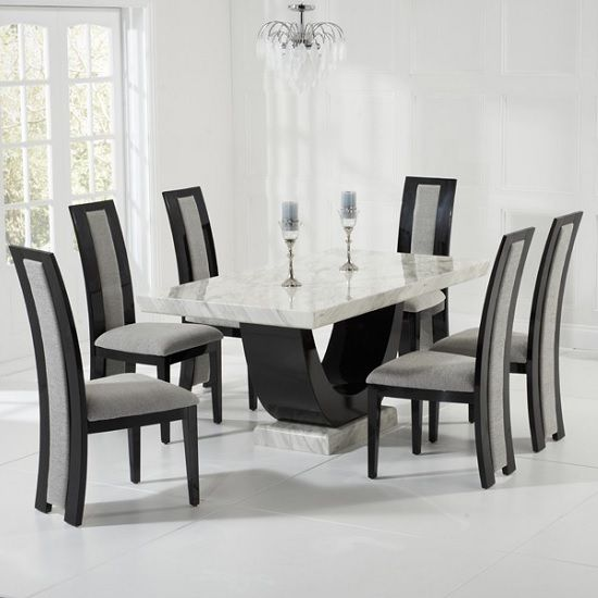 Allie Marble Dining Set In Cream And