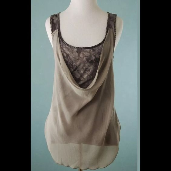 MYSTREE Gray Brown Tie Dye Sheer Overlay Top Small MYSTREE Gray Brown Tie Dye Sheer Overlay Tunic Top Small Mystree Tops Tunics