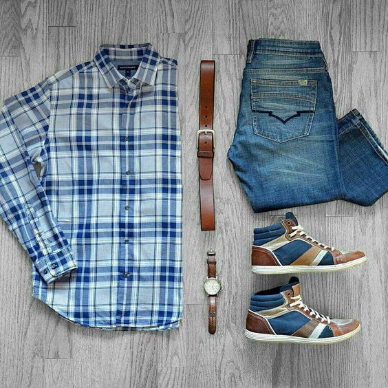 Outfit grid - Checked shirt & jeans                              …