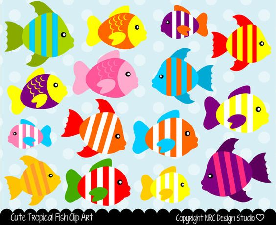 Sea Creatures Clip Art - Cute Tropical Fish Clip Art - Digital Fish ...