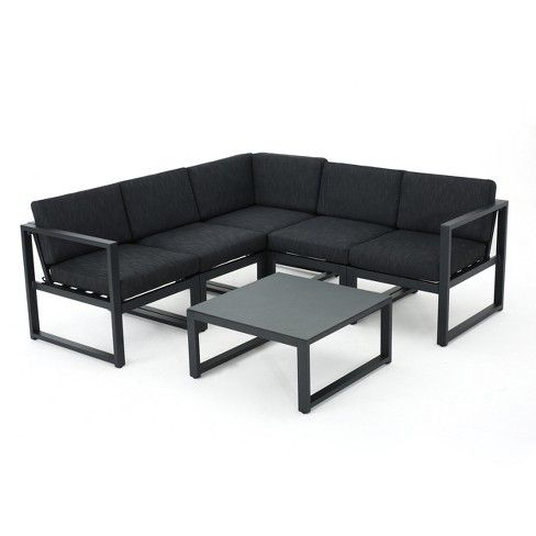 Navan 6pc Aluminum V Shaped Sofa Set Dark Gray Christopher Knight Home Outdoor Sofa Sets Sofa Set Noble House