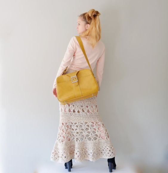 Maxi Skirt In Natural Beige  / Long Woman Crochet by Accessodium, $150.00