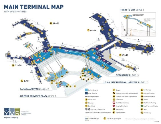 Vancouver Airport Terminal Map Airport Map Travel Info Vancouver