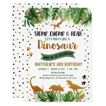 dinosaur green gold safari birthday