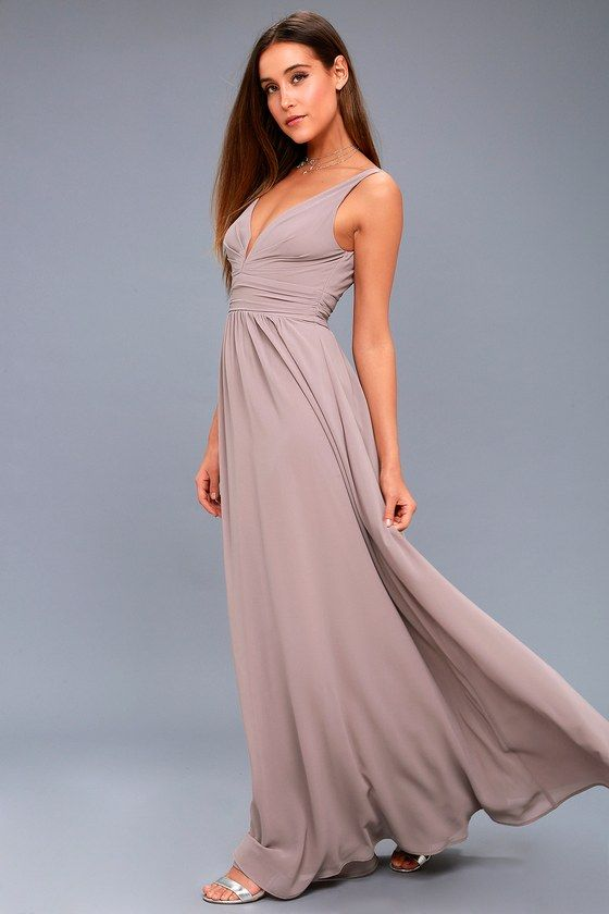Lulus Exclusive Steal The Show In The Leading Role Taupe Maxi Dress Stunning Georgette Fabric Drapes Al Taupe Maxi Dress Maxi Dress Green Elegant Maxi Dress