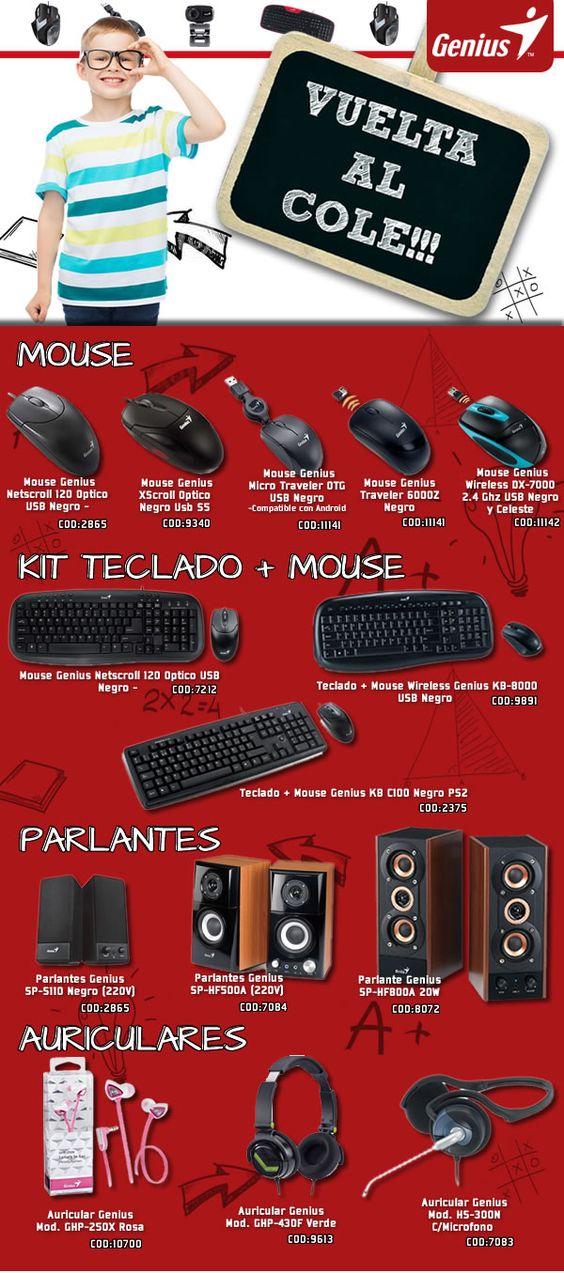 Con #Genius volves al colegio. #Mouse #Kit de #Teclado + Mouse #Parlantes y #Auriculares  www.gvinformatica.com.ar
