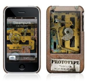 A steampunk iPhone case/skin.  Also comes in laptop sizes, even more dramatically.  I want this for my little 3G!