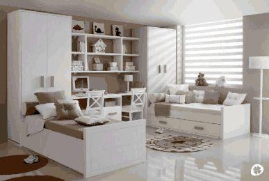 Dormitorio para dos ni os con armarios junto a camas - Habitaciones juveniles con dos camas ...