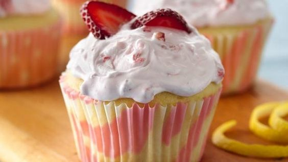 Lemon Cupcakes with Strawberry Frosting Recipe