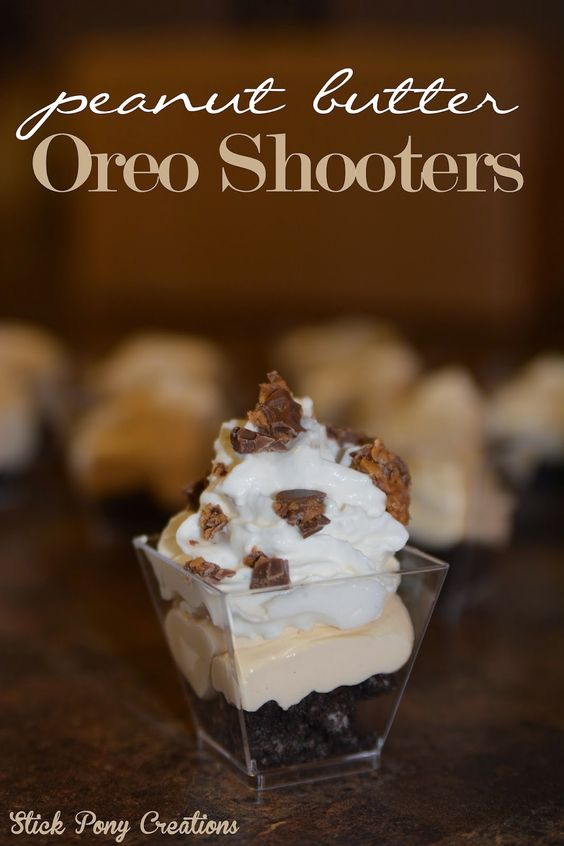 Stick Pony Creations - Peanut Butter Oreo Shooters with Reese's Peanut Butter Cups!  Perfect little dessert for any occasion!  Always looking for mini dessert recipes.
