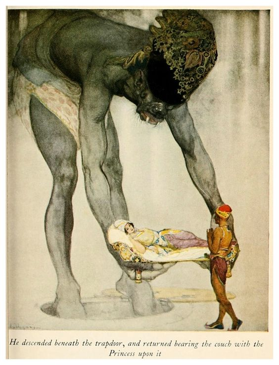 Willy Pogany illustration Giant man lifting princess on pillow