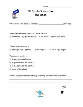 Bill Nye The Science Guy Moon Phases Worksheet - Worksheets