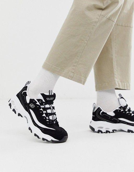 Omitir terremoto Multitud  Skechers D'lites chunky trainers in black white