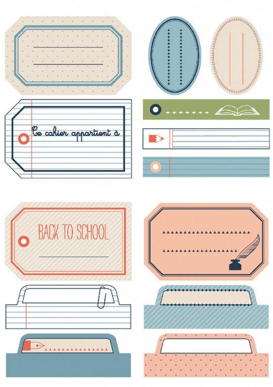 Les étiquettes d'écolier gratuites à imprimer