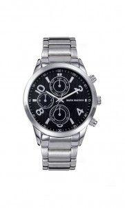 Colección Timeless luxury - HM6004-55. Reloj de caballero multifunción brazalete. Esfera negra y cierre desplegable. Impermeable 30 metros (3ATM). Precio: 49,00 €