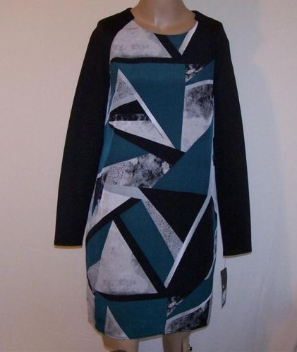 New Dress Sz M MOSSIMO Block Print Lined Long Sleeves Womens NWT