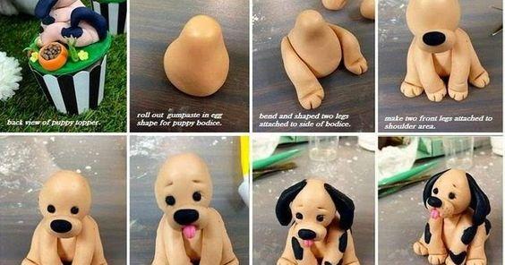 Eu Amo Artesanato: Cachorrinho de biscuit