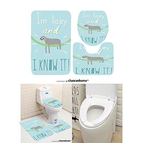Chaoranhome Pattern Bath Mat Set 3 Piece Bathroom Mats Cute Card