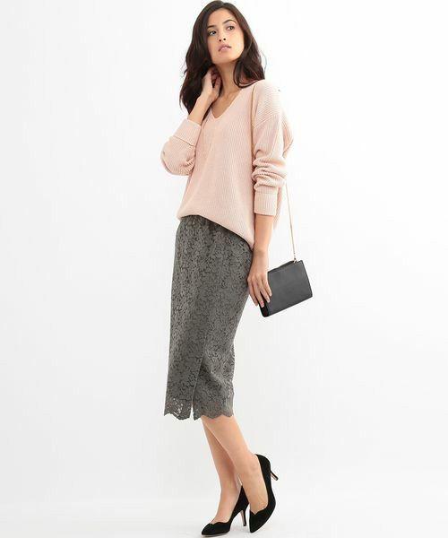 ROPE' mademoiselle(ロペマドモアゼル)の《予約》サイドスリットレースタイトスカート(スカート)|詳細画像