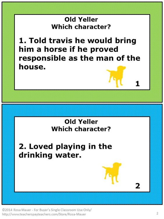 FREE! Old Yeller by Fred Gipson is the focus of these FREE task cards. On each card there is a clue to describe a character from the story. Students are to write the character that each clue best describes. A response form for students and an answer key for the teacher are provided.