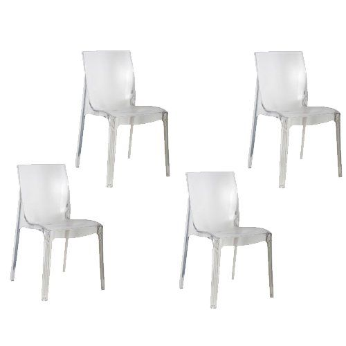 Tensai Emma Collection Set Of 4 Durable Plastic Chairs Wide Peg