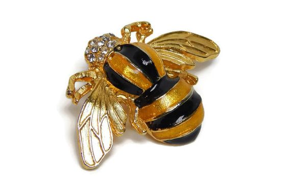Vintage Gold Bee Pin Bumble Bee Brooch Gold Yellow by GreenBeeKC, $18.99