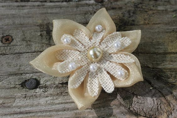 Flower Hair clip by HBluesky on Etsy - so cute! #shabbychic #burlapandlace