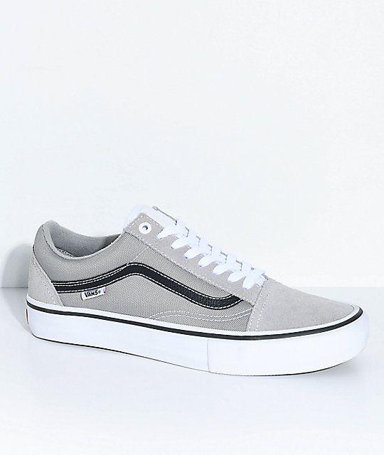 Vans Old Skool Pro Drizzle Grey Skate Shoes | Mens vans