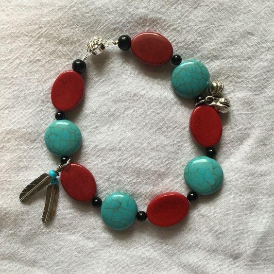 A new creatiin from my Etsy shop https://www.etsy.com/listing/287250847/magnesite-howlite-bracelet-southwestern