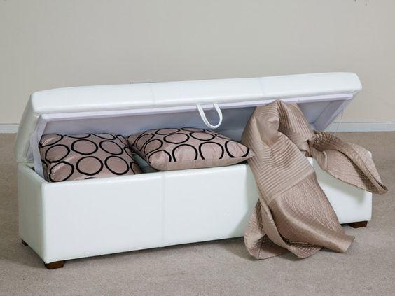 Havana White Leather Storage Ottoman Bench Forrest Furnishing 139 Furniture Ideas Pinterest And Ottomans