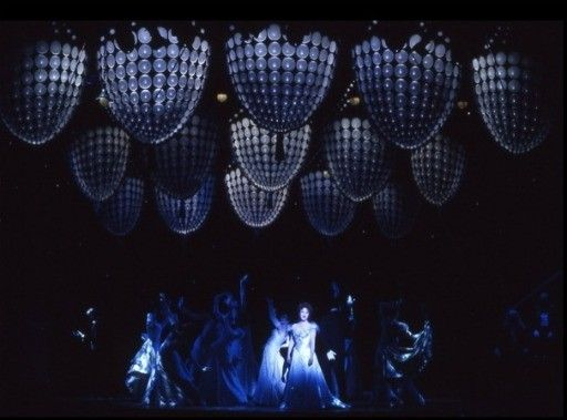 Bernadette Peters and ensemble in the Broadway revival of Annie Get Your Gun, 1999. Scenic design by Tony Walton.
