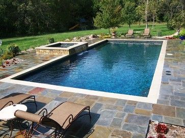 Rectangular pool pool designs and pools on pinterest for Residential pool designs