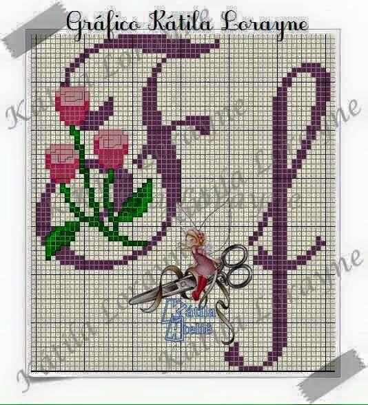 Monograma Botoes De Rosa Em Ponto Cruz 50 Pontos De Altura