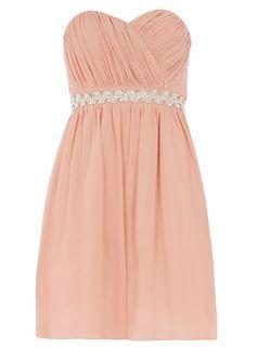 **Showcase Pink embellished bandeau prom dress