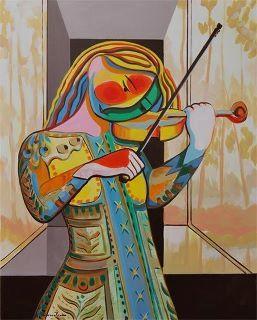 WOMEN WITH VIOLIN   Picasso fue protagonista y creador inimitable de las diversas corrientes que revolucionaron las artes plásticas del siglo XX, desde el cubismo hasta la escultura neofigurativa, del grabado o el aguafuerte a la cerámica artesanal o a la escenografía para ballets. Su obra inmensa en número, en variedad y en talento, se extiende a lo largo de más de setenta y cinco años de actividad creadora, que el pintor compaginó sabiamente con el amor, la política, la amistad y un exulta...: