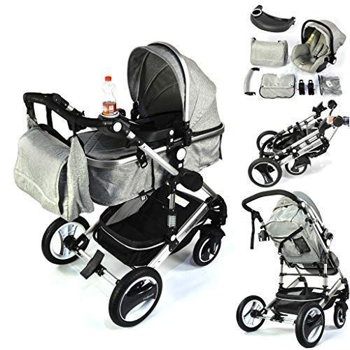 3 In 1 Kinderwagen Bambimo Grau Babywanne Buggy Sportsitz Babyschale Autoschale Aluminium Rahmen 1 Klick System Kinderwagen Kinder Wagen Babywanne