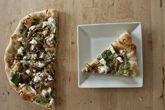 Italian Pizza with Spinach, Balsamic Onions & Ricotta Cheese.