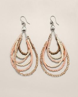 Brincos com missangas- Hoop Earrings- six wire dewdrops beaded in a soft feminine shades. Glass, metal, and synthetic materials. Wire.- em fio de aço