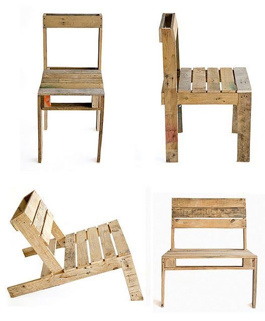 I've been looking for chairs for our schoolroom.  Now I'm looking for pallets, so I can make a couple of these.
