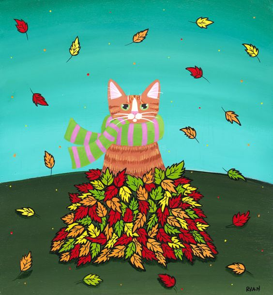 Cat in the Leaf Pile  Original Autumn Folk Art by KilkennycatArt: