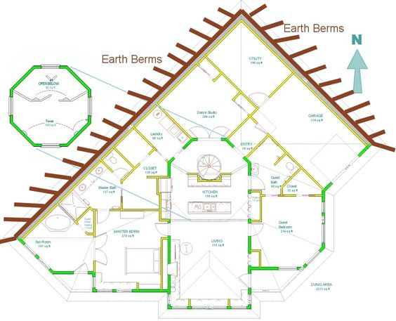 Home plans for a passive solar earth sheltered home at for Earth contact home plans