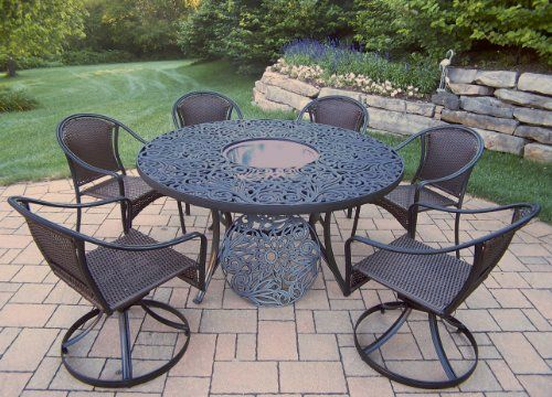 Oakland Living Tuscany 8-Piece Set with 60-Inch Round Table, 4 Stackable Chairs, 2 Swivel Chairs and Stainless Steel Ice Bucket